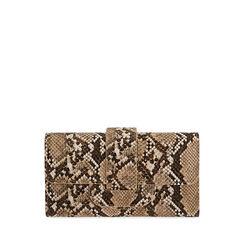 Portafogli beige stampa pitone, Primadonna, 175102538PTBEIGUNI, 001a