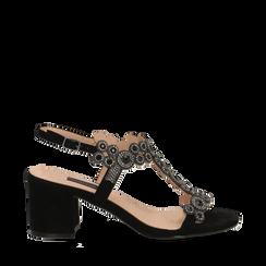 Sandali con strass neri in microfibra, tacchi 6,50 cm, Primadonna, 134956321MFNERO035, 001a