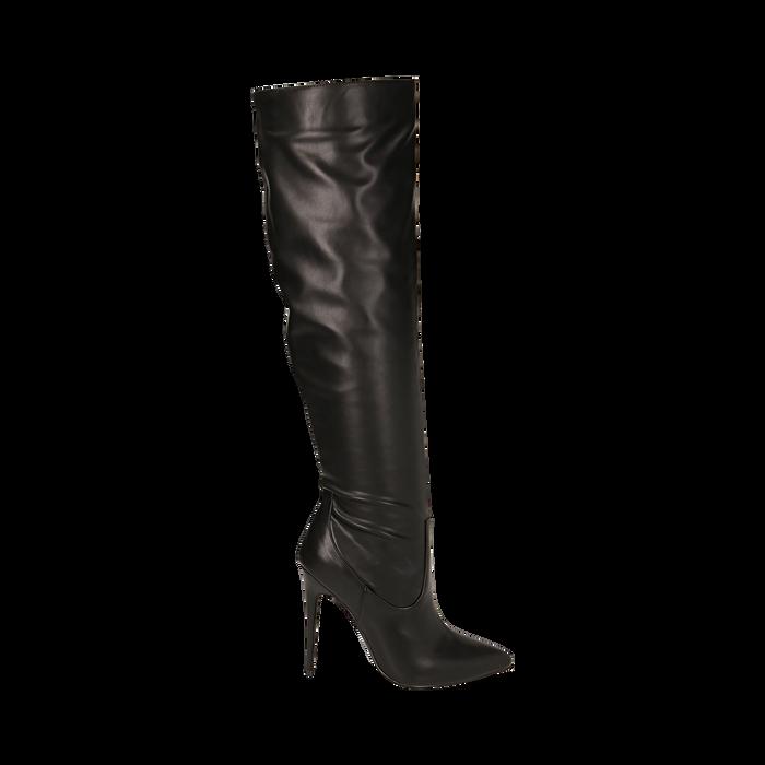 Overknee neri in eco-pelle, tacco 11,5 cm , Stivali, 142160055EPNERO041