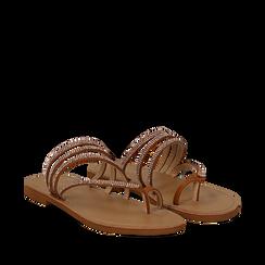 Sandali infradito con strass cuoio in eco-pelle, Saldi Estivi, 114926815EPCUOI035, 002a