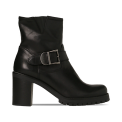 Tronchetti neri in vera pelle con fibbia rettangolare, tacco 5 cm, Primadonna, 127723803PENERO, 001 preview