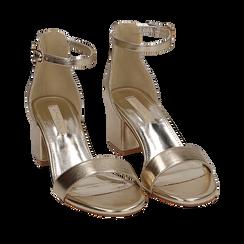 Sandali oro in eco-pelle laminata, tacco 5,50 cm, Scarpe, 152707031LMOROG035, 002a
