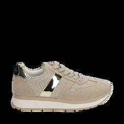 Sneaker beige in microfibra con dettaglio mirror, Scarpe, 132899622MFBEIG037, 001a