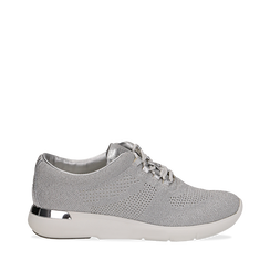 Sneakers argento in tessuto glitter, Scarpe, 133020229GLARGE036, 001a
