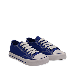 Sneakers blu in canvas, Scarpe, 137300862CABLUE035, 002a