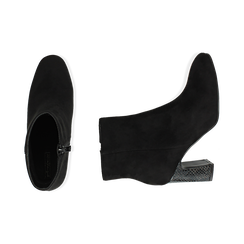 Bottines noir en microfibre, talon 8,5 cm, Primadonna, 164953691MFNERO036, 003 preview
