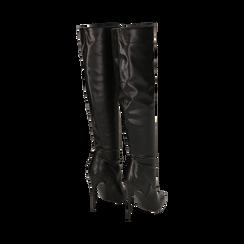 Overknee neri in eco-pelle, tacco 11,5 cm , Stivali, 142160055EPNERO041, 003 preview