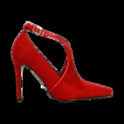 Décolleté rosse sagomate con cinturino, tacco 10,5 cm, Scarpe, 122186724MFROSS, 001 preview