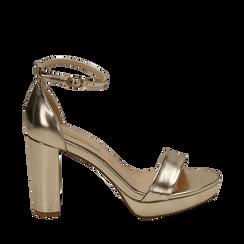 Sandalias en eco-piel laminada color dorado, tacón 9,5 cm  ,  Zapatos, 152185825LMOROG035, 001a