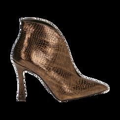 Ankle boots bronzo laminato, tacco 9,5 cm , Primadonna, 165200231LMBRON035, 001 preview