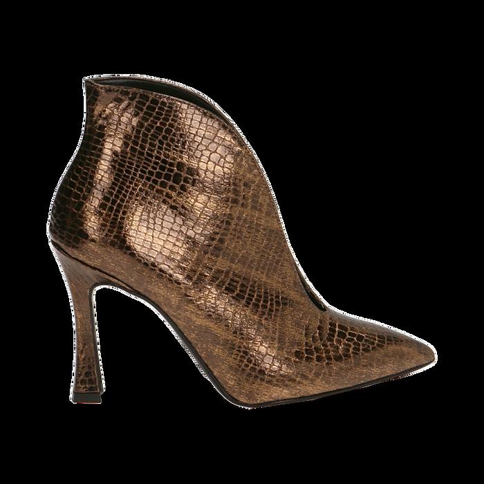 Ankle boots bronzo laminato, tacco 9,5 cm , Primadonna, 165200231LMBRON035