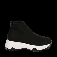 Sneakers a calza nere in lycra, zeppa 5 cm , Scarpe, 142008357LYNERO036, 001a