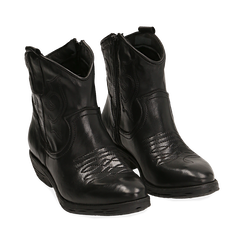 Camperos neri in pelle di vitello , Stivaletti, 148900250VINERO036, 002a