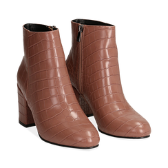 Ankle boots nude stampa cocco, tacco 7,5 cm , Stivaletti, 142762715CCNUDE036, 002 preview