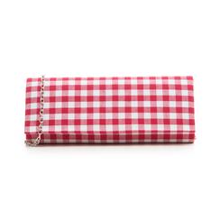 Clutch bianco/rossa in tessuto stampa Vichy, Borse, 133308825TSBIROUNI, 001 preview