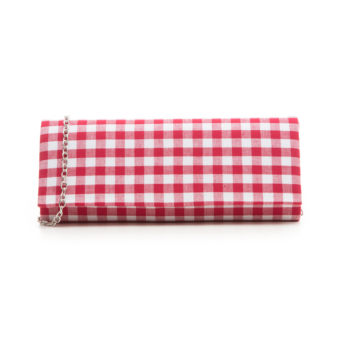 Clutch bianco/rossa in tessuto stampa Vichy, Borse, 133308825TSBIROUNI