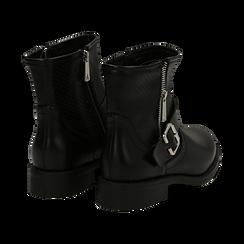 Biker boots neri in eco-pelle con gambale traforato estensibile, tacco 3 cm, Scarpe, 130619015EPNERO, 004 preview