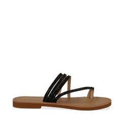 Sandali infradito con strass neri in eco-pelle, Saldi Estivi, 114926815EPNERO035, 001a