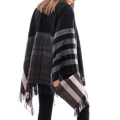 Poncho nero a righe bianche in tessuto , Abbigliamento, 14B404073TSNEROUNI, 002 preview