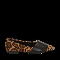Ballerine a punta leopard in micorfibra , Scarpe, 144841126MFLEOP035, 001a