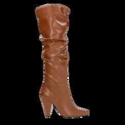 Stivali cuoio gambale drappeggiato, tacco a cono 10 cm, Scarpe, 124911206EPCUOI036, 001a