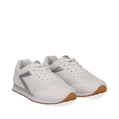 Sneakers bianche in tessuto, design aerodinamico, Scarpe, 132619024TSBIAN035, 002a