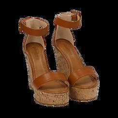 Sandali cuoio in eco-pelle, zeppa 12 cm , Scarpe, 154981001EPCUOI035, 002a