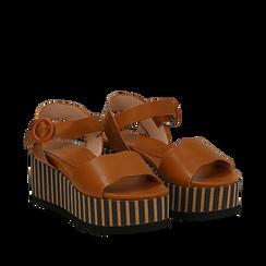 Sandali platform cuoio in eco-pelle, zeppa optical 7,50 cm , Primadonna, 134901231EPCUOI036, 002a