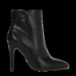 Tronchetti neri, tacco stiletto 8 cm, Scarpe, 124895652EPNERO035, 001a