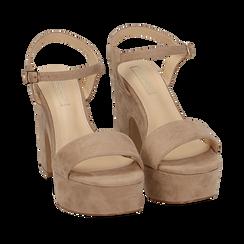 Sandalias en microfibra color beige, tacón de cuña 11 cm , SABOT DE TACÓN ALTO, 154968033MFBEIG035, 002a