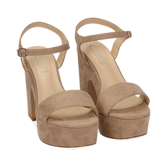 WOMEN SHOES SANDAL MICROFIBER BEIG, Chaussures, 154968033MFBEIG036, 002a