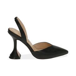 Slingback nere, tacco 10,5 cm , Primadonna, 172190572EPNERO035, 001 preview