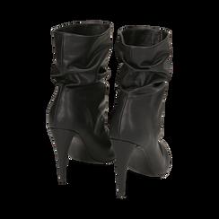 Ankle boots drappeggiati neri in eco-pelle, tacco 10 cm , Stivaletti, 142152925EPNERO036, 003 preview
