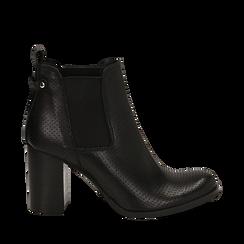 Chelsea boots traforati neri in vitello, tacco 8,50 cm , Scarpe, 138900880VINERO035, 001a