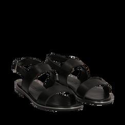 Sandali flat neri in eco-pelle, Primadonna, 136102086EPNERO037, 002a