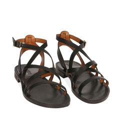 Sandales noires en cuir de vachette, Primadonna, 15D620006VANERO036, 002a