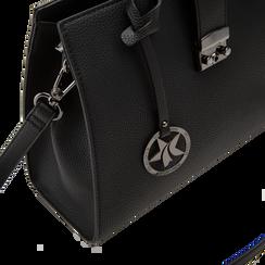 Mini bag nera in ecopelle, Saldi Borse, 125706683EPNEROUNI, 005 preview