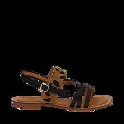 Sandali neri in eco-pelle con dettaglio leopard, Saldi Estivi, 135201203EPNERO035, 001a