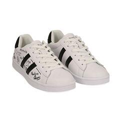 Sneakers bianche con scritte cartoon, Scarpe, 172621103EPBIAN035, 002 preview