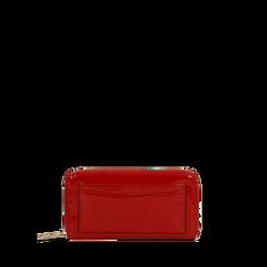 Portafoglio rosso in ecopelle vernice con 10 vani, Saldi, 125709023VEROSSUNI, 001a