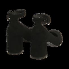 Décolleté con cinturino nere in microfibra, tacco 6,50 cm , Primadonna, 162183352MFNERO035, 004 preview
