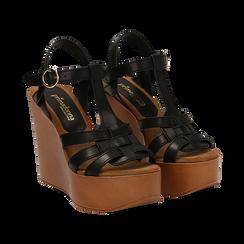 Sandali platform multilistino neri in eco-pelle, zeppa 12 cm ,