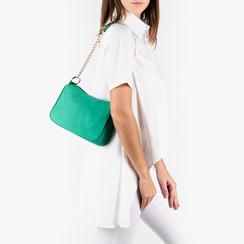 Petit sac porté épaule vert en microfibre, Primadonna, 155127201MFVERDUNI, 002a