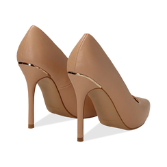 Décolleté nude in eco-pelle con punta affusolata, tacco stiletto 11 cm, Scarpe, 132146861EPNUDE041, 004 preview