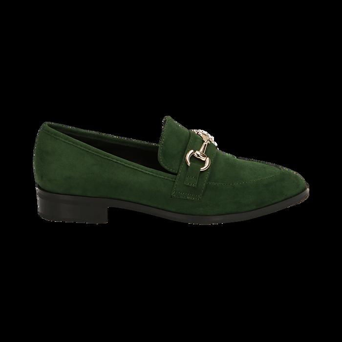 Mocasines de microfibra en color verde, Zapatos, 164964141MFVERD035