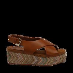 Sandali platform cuoio in eco-pelle, zeppa intrecciata 5 cm, Scarpe, 132117952EPCUOI035, 001a