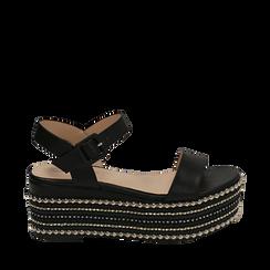 Sandali neri in eco-pelle, zeppa 7 cm , Primadonna, 154932211EPNERO035, 001a