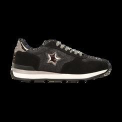 Sneakers nere dettagli glitter e metallizzati , Scarpe, 121308201LMNERO, 001 preview