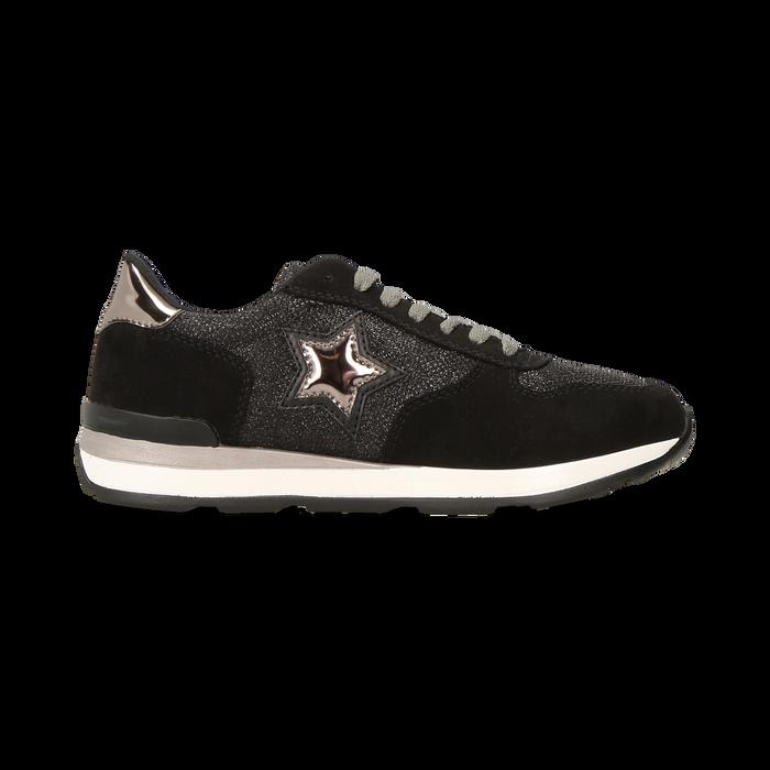 Sneakers nere dettagli glitter e metallizzati , Scarpe, 121308201LMNERO
