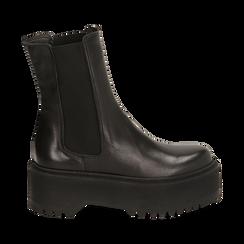 Chelsea boots neri in pelle di vitello, suola 6 cm , Primadonna, 168900202VINERO036, 001 preview